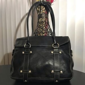 Vtg. MICHAEL KORS Black Leather Shoulder Bag